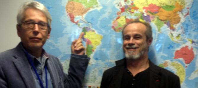 Le journaliste Jean-Yves Casgha et Carlos Moreno