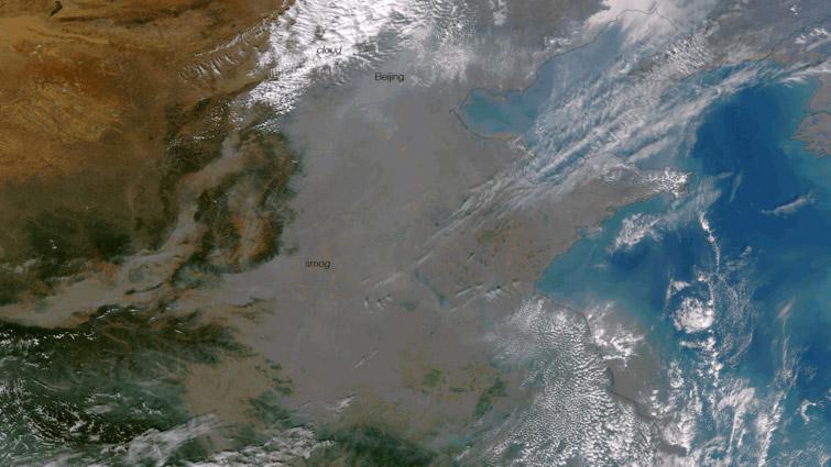 Nuage de smog recouvrant un axe Pekin - Harbin