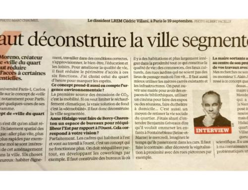 """Interview de Pr. Carlos Moreno : """"Il faut déconstruire la ville segmentée"""" – Libération – 20 Janvier 2020"""