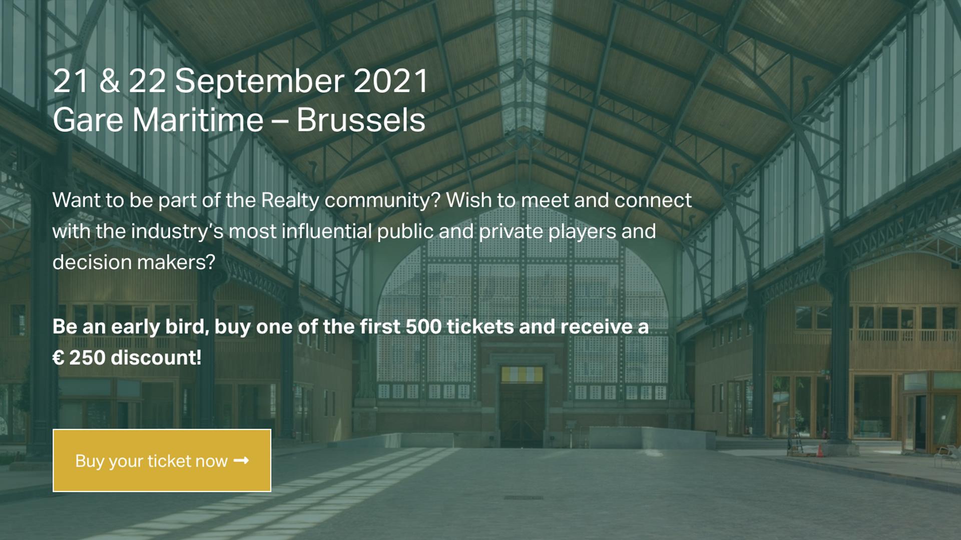 21 septembre 2021 – Sommet Immobilier Realty – Bruxelles (Belgique)