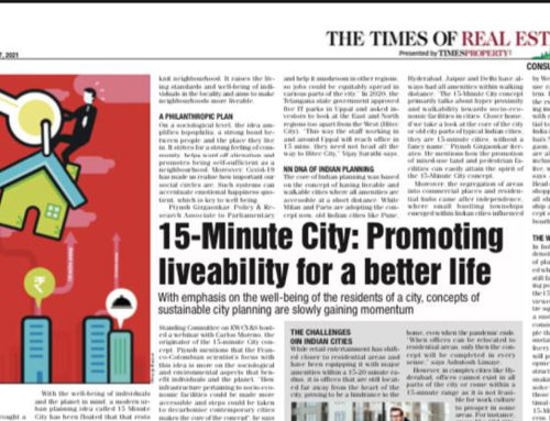 Times of India – 15-Minute City : Promoting liveability for a better life