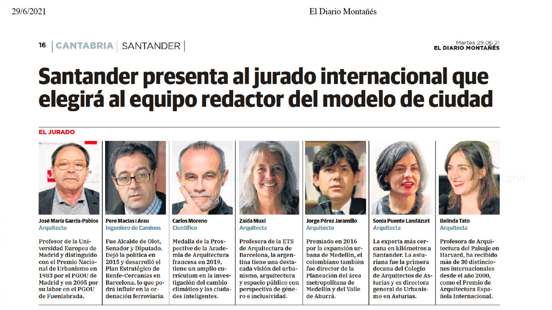 El Diario Montañés – Santander presenta al jurado internacional que elegirá al equipo redactor del medelo de ciudad – martes 29 de junio de 2021